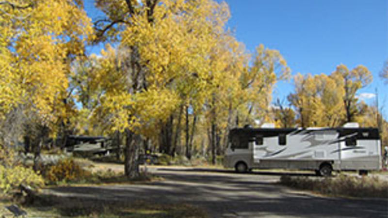 Motorhome at Gros Ventre Campground in the Fall