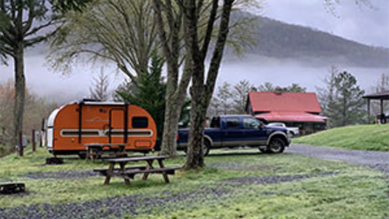 red travel trailer in an rv park