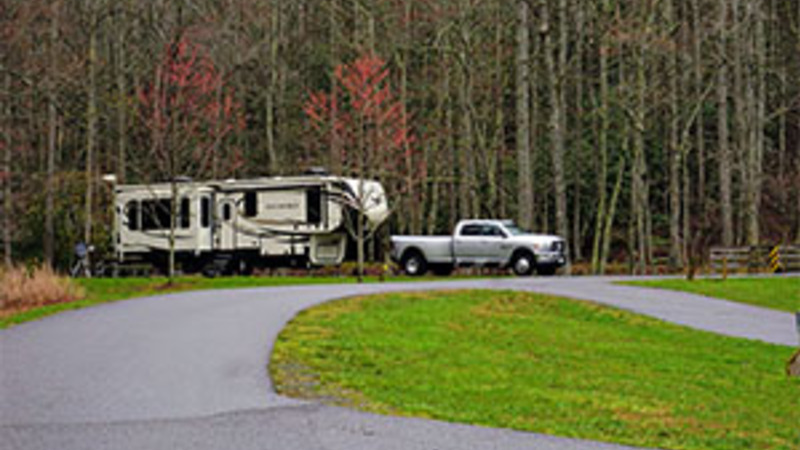 Travel Trailer camping at a State Park in North Carolina