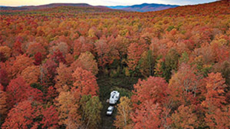RV camping for free during the fall in New Hampshire