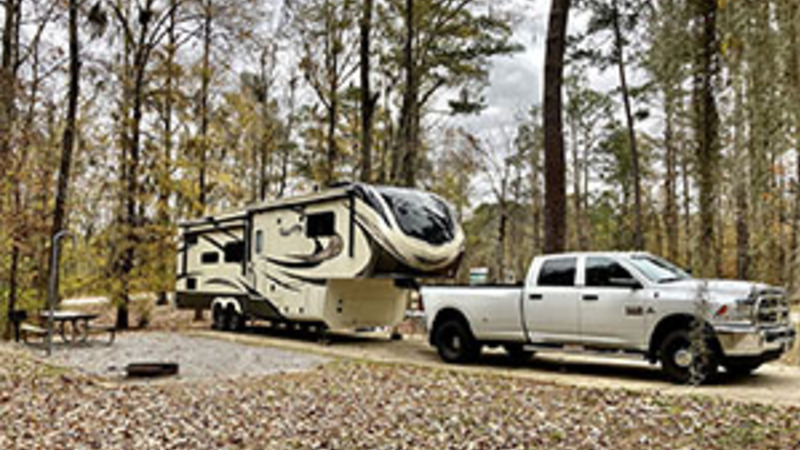 5th Wheel and a Truck camping in Alabama