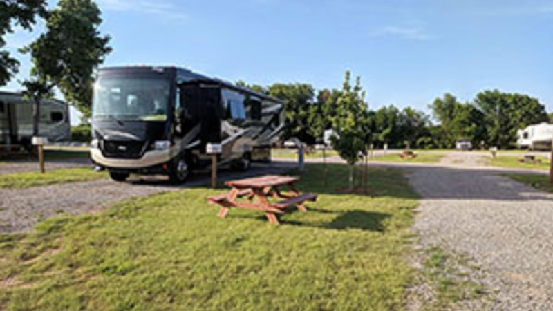 RV camping at a park in Oklahoma
