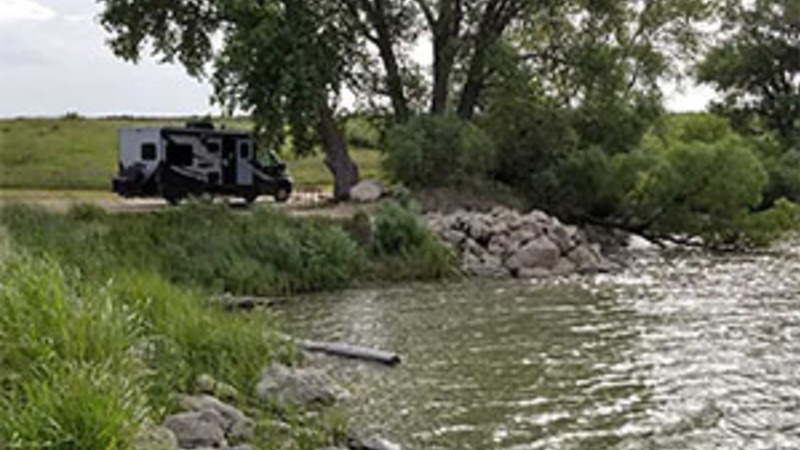 RV camping for free by the water in Kansas