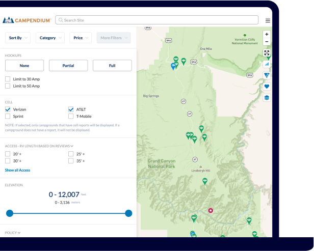 Laptop showing example of searching for campsite by reported cell service on the Campendium website