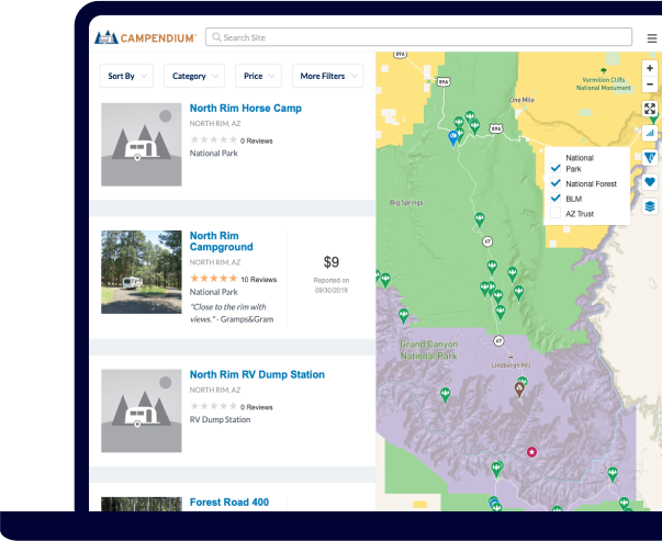 Laptop showing example of using public land map overlays on the Campendium website