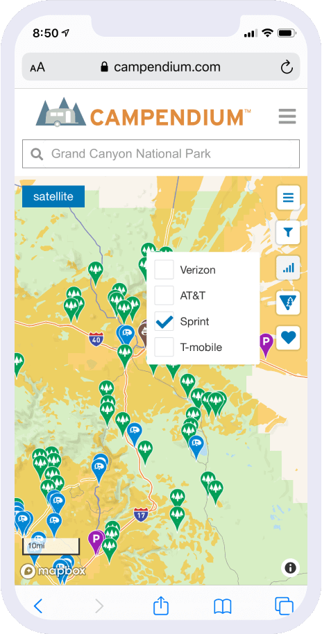 mobile device showing map of camping locations